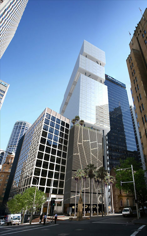 artist impression 33 Bligh Street Sydney office tower and substation below Architects -  Fitzpatrick +Partners