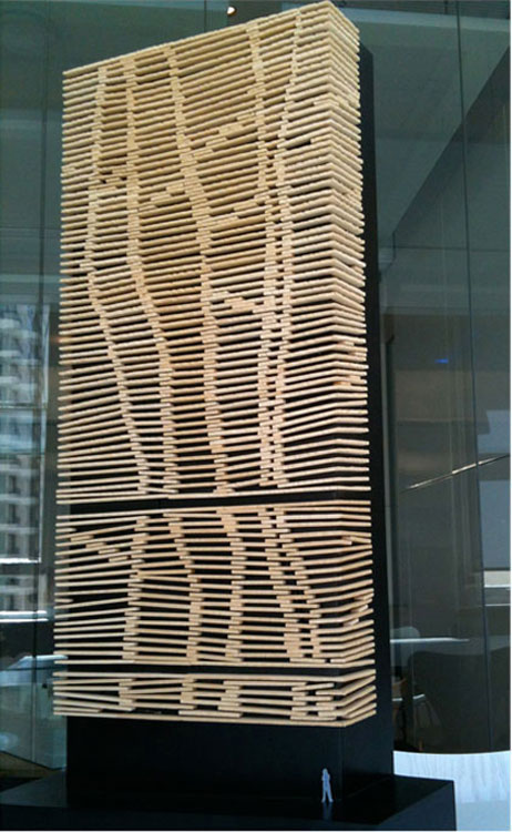 Scale model Bligh Street side Cliff face made ofglass re-enforced concretein a rock face texture allowing for venting of the power substatio